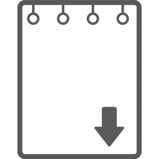 book, down, note icon
