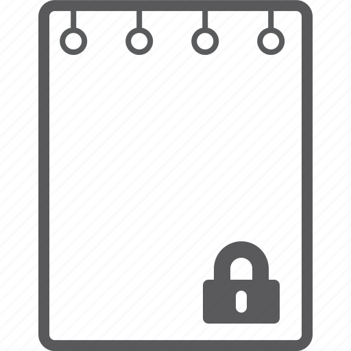 book, lock, note icon