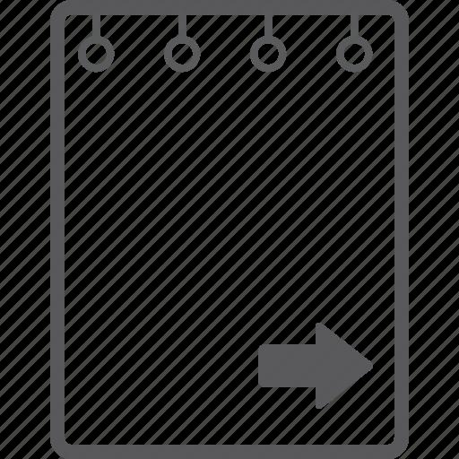 book, note, right icon