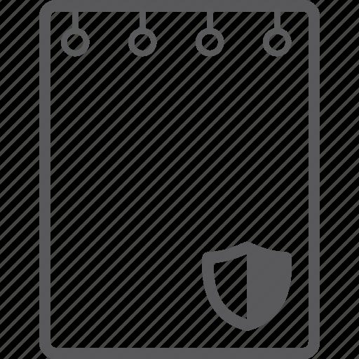 book, note, shield icon