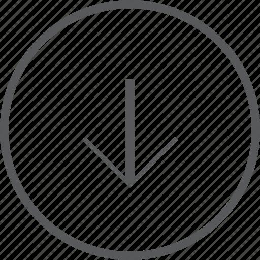 Down, circle, arrow, navigation, direction, arrows icon