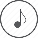 circle, eighth, media, music, musical, note, sound icon