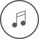 circle, media, music, musical, note, single, sound icon