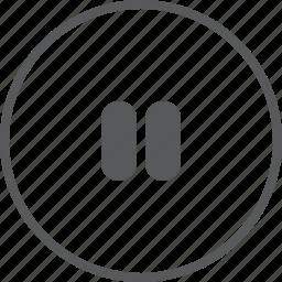 audio, circle, media, multimedia, music, pause, player icon