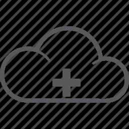 add, cloud, creare, forecast, new, plus, weather icon