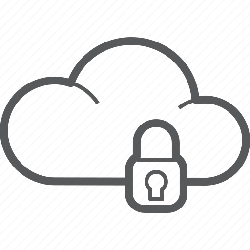 cloud, forecast, lock, on, protection, safe, weather icon