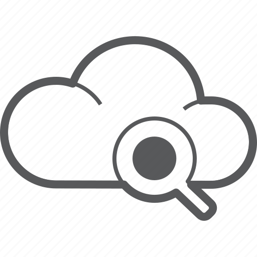 cloud, find, forecast, glass, magnifying, search, weather icon