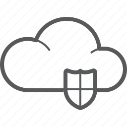 cloud, forecast, protection, secure, security, shield, weather icon