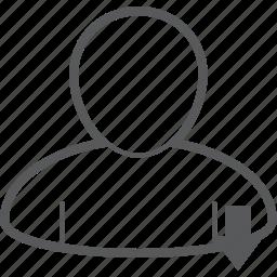 arrow, down, download, human, person, profile, user icon