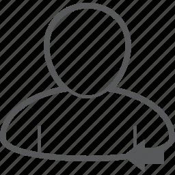 arrow, back, human, left, person, previous, user icon