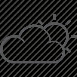 cloud, forecast, hot, sun, sunny, sunrise, weather icon
