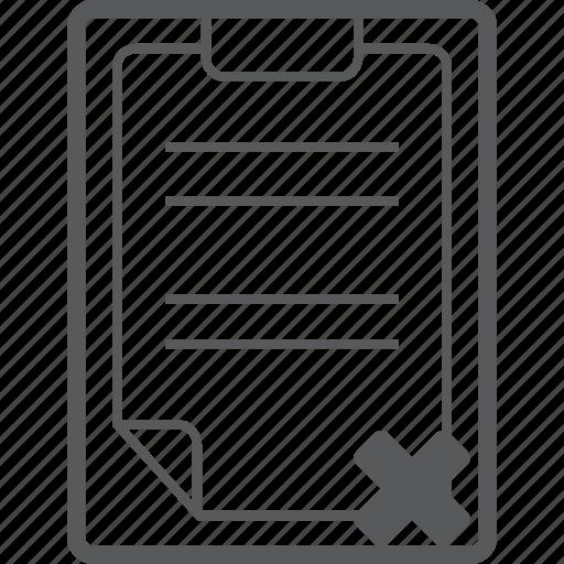 cancel, clipboard, close, delete, document, paper, remove icon