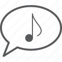 bubble, eighth, message, music, musical, note icon