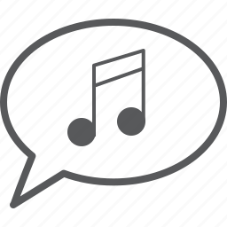 bar, bubble, message, music, musical, note, single icon