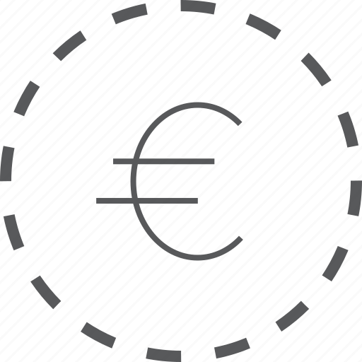 business, circle, currency, dashed, euro, finance, financial icon