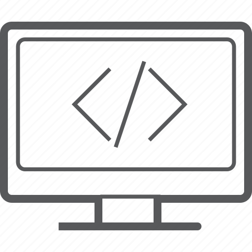 code, coding, desktop, display, monitor, screen, technology icon