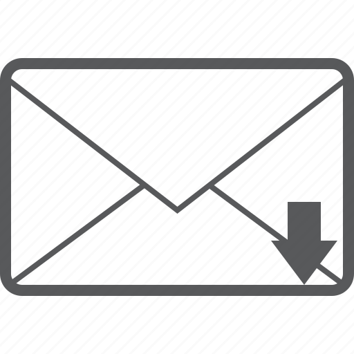 arrow, communication, down, download, email, mail, message icon