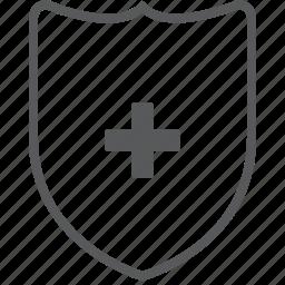 add, create, guard, new, plus, protect, shield icon