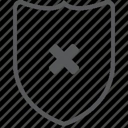 cancel, close, delete, guard, protect, remove, shield icon