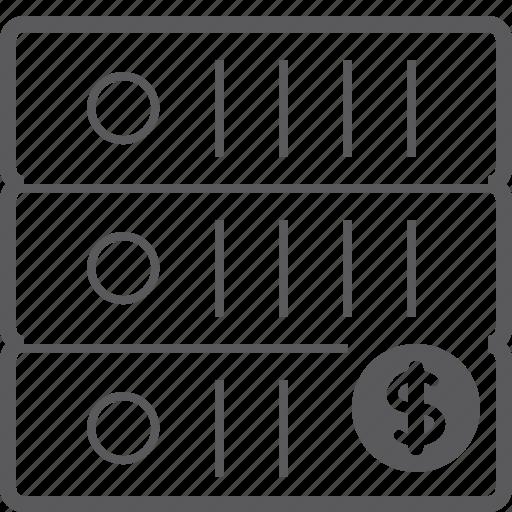 dollar, sever, storage icon