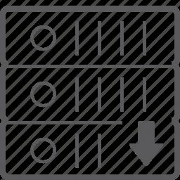 down, sever, storage icon