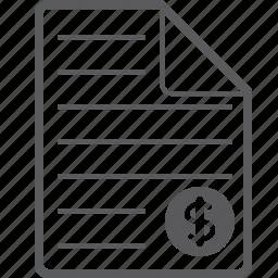 dollar, sheet icon