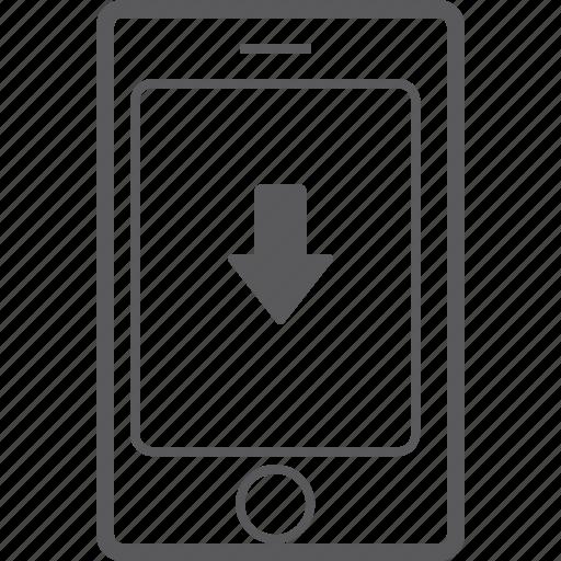 down, phone, smart icon