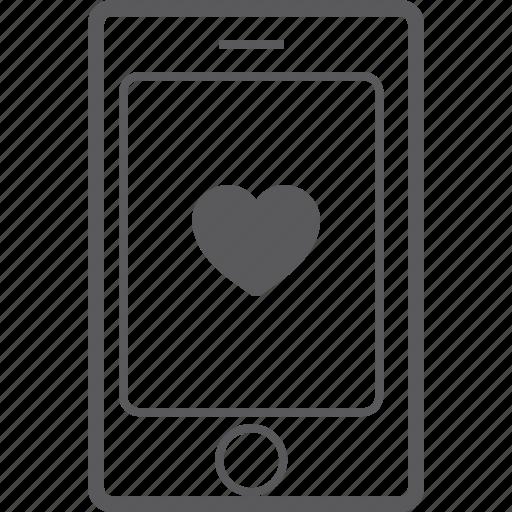 heart, phone, smart icon