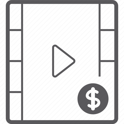 dollar, player, video icon