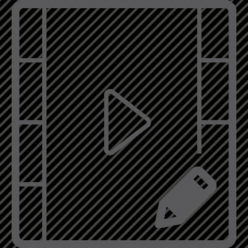 pencil, player, video icon