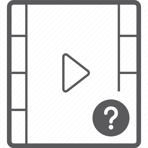 player, question, video icon