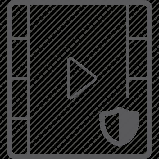 player, shield, video icon