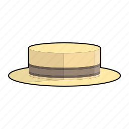 boater hat, cap, clothing, fashion, hat, headwear, straw hat icon