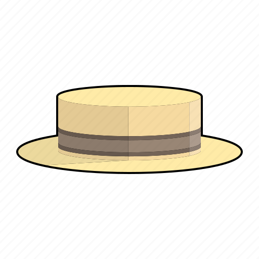 boater hat, cap, clothing, fashion, hat, headwear, straw hat icon