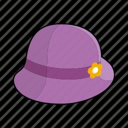 cap, clothing, fashion, felt, flower, hat, woman's hat icon