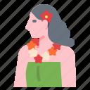 flower, girl, hawaii, people, woman