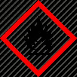 flammable, hazard symbols, industrial icon