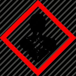 hazard, hazard symbols, health, industrial, longer term health hazard icon