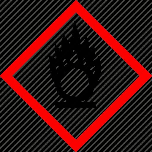 hazard symbols, industrial, oxidizing icon