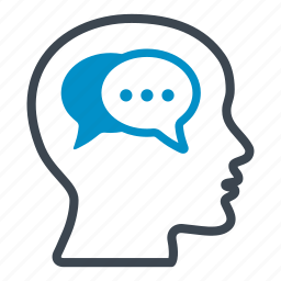 bubble, conversation, head, mind, speech, technology, thinking icon