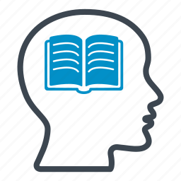 book, creative, education, head, learning, reading, science icon