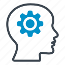 brain, cog, cogwheel, gears, head, latest, technology icon