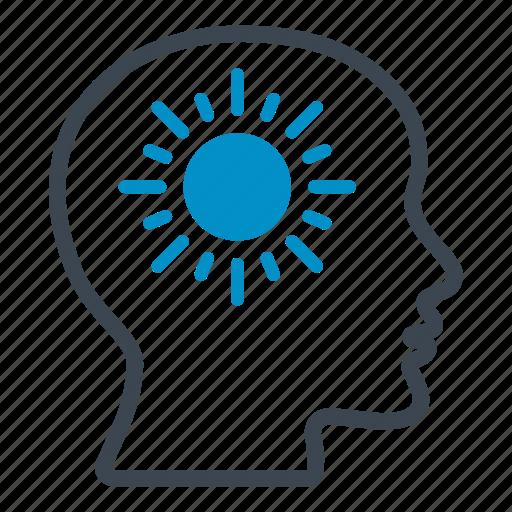 bright, celsius, head, shining, sun, temperature, thermometer icon