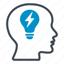 bulb, creative, energy, head, idea, important, think icon