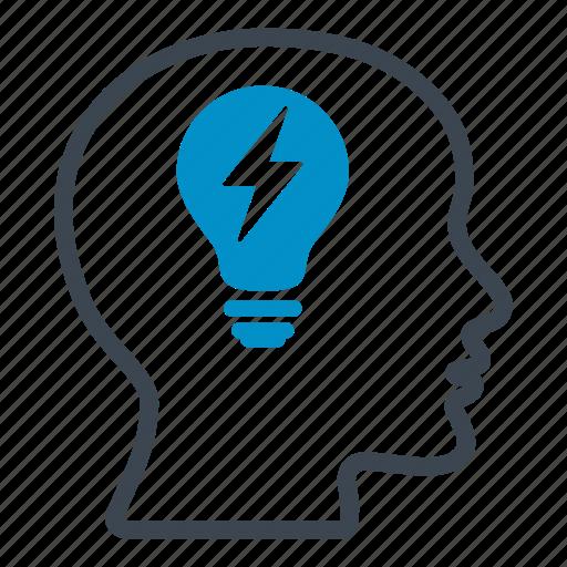 bulb, creative, energy, head, idea, important, think icon