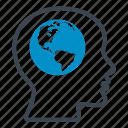 earth, global mind, head, international, nations, thinking, worldwide icon