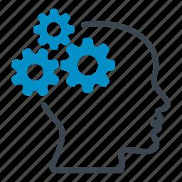 brain, cogs, cogwheels, gears, head, latest, technology icon