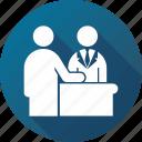 admission, cashier, register, registration, reservation icon