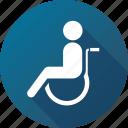 disabled, handicap, handicapped, patient, wheelchair icon