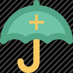 guard, health care, medical protection symbol, medicament, red cross, treatment, umbrella icon